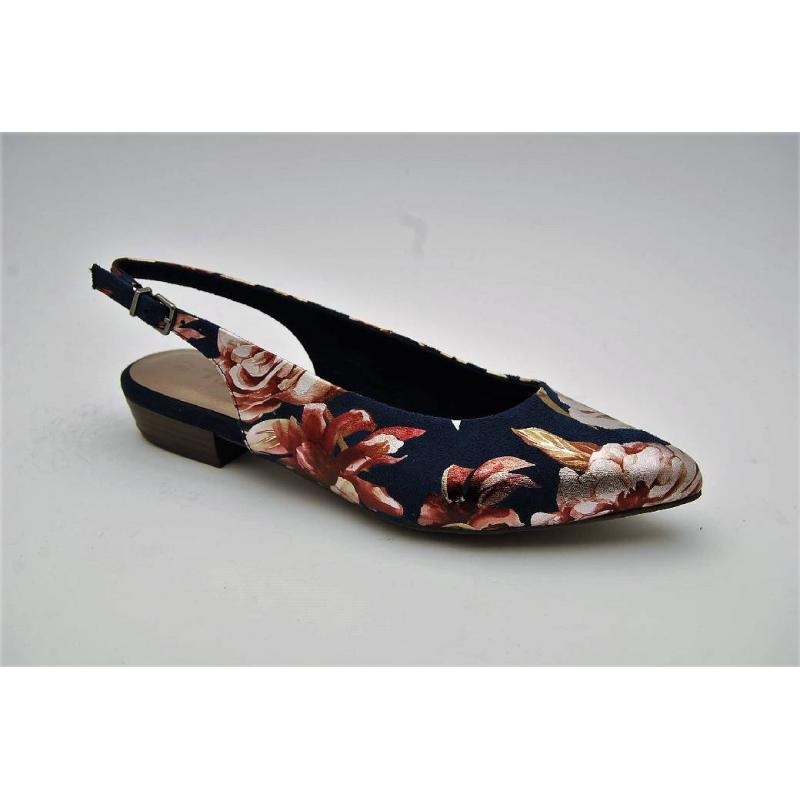 TAMARIS navy flower slingback